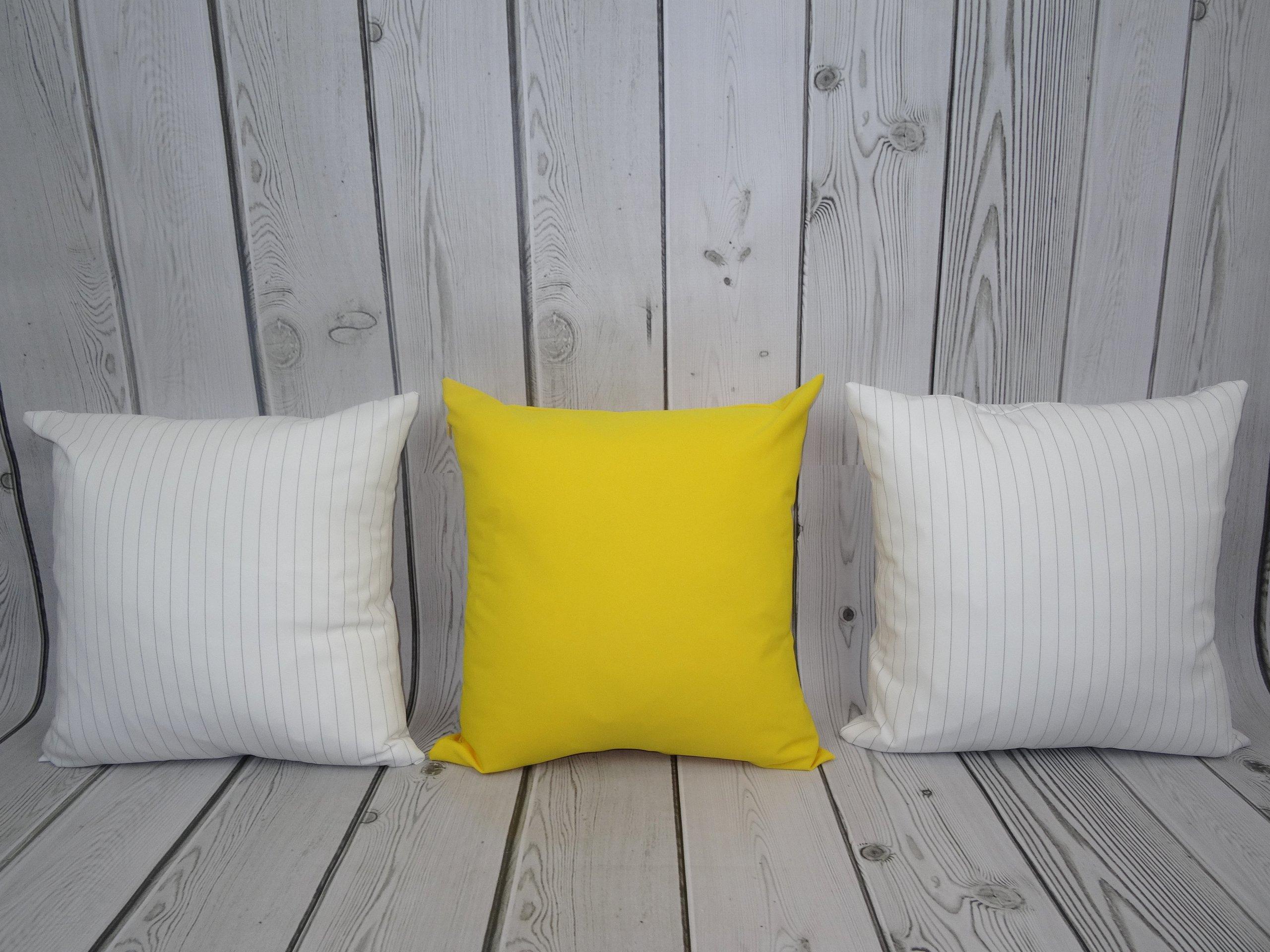 3 Poduszki Dekoracyjne Białe W Paski I żółta 7215821858