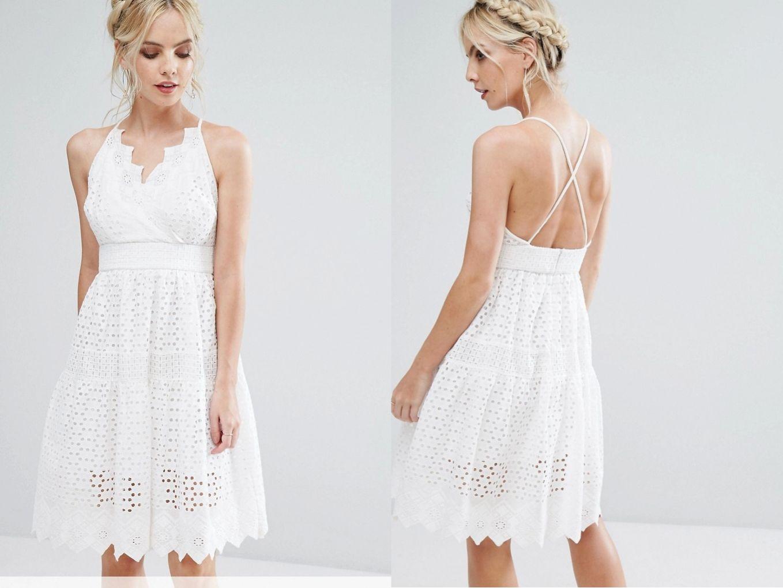 55a33730d TRUE DECADENCE biała koronkowa sukienka boho 44 - 7288333301 ...