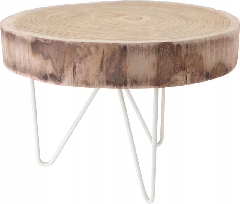 Wybitny Stolik kawowy trójnóg okrągły drewniany blat 42 cm - 7472728295 NU81