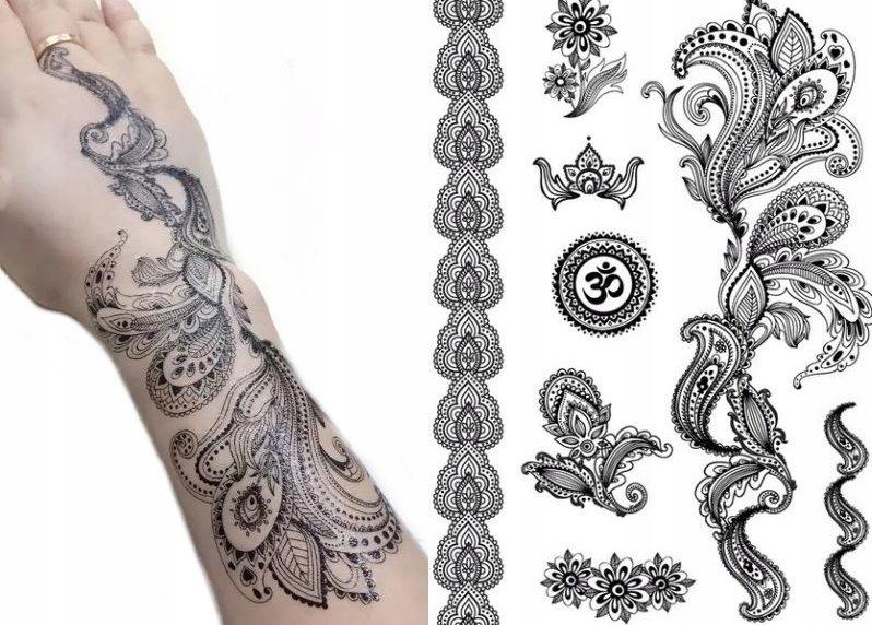 Boho Tymczasowy Tatuaż Czarne Kwiaty Henna Th5 7057936729
