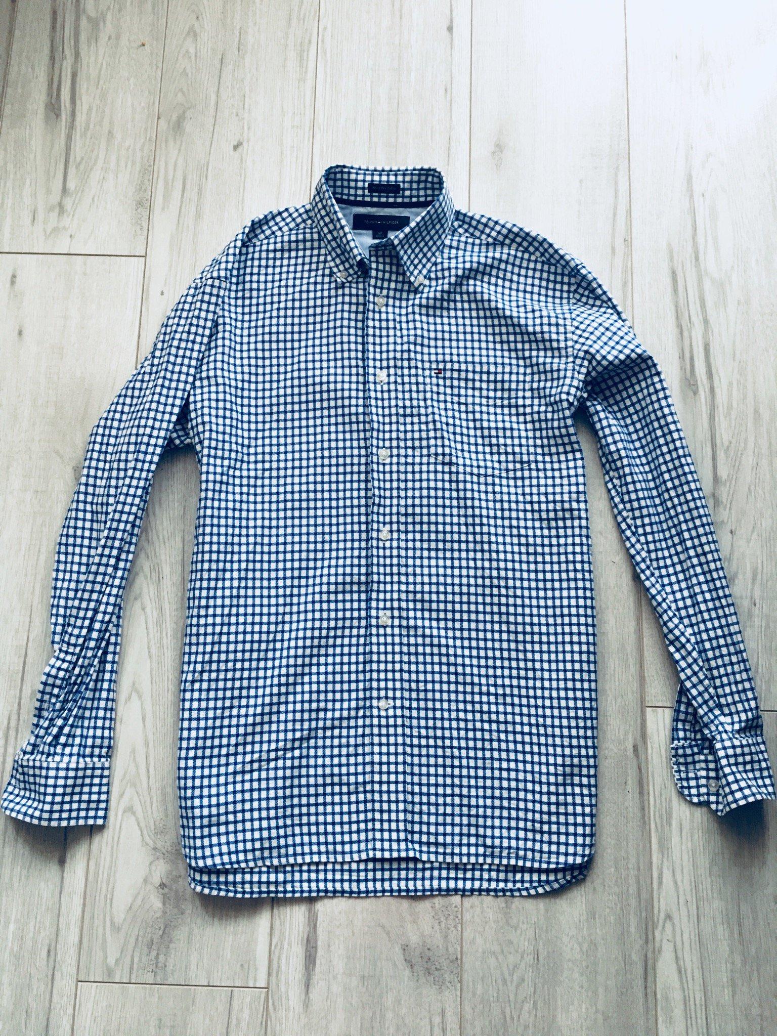 1c21f548c Tommy Hilfiger koszula krata niebieska S jak nowa - 7086983807 ...