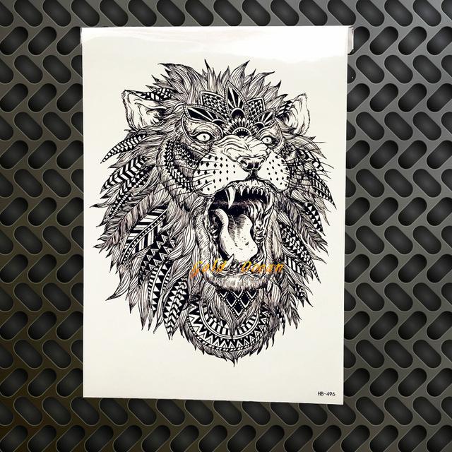 Tatuaż Zmywalny Lew Duży Mandala Czarny Indianin 7338936435
