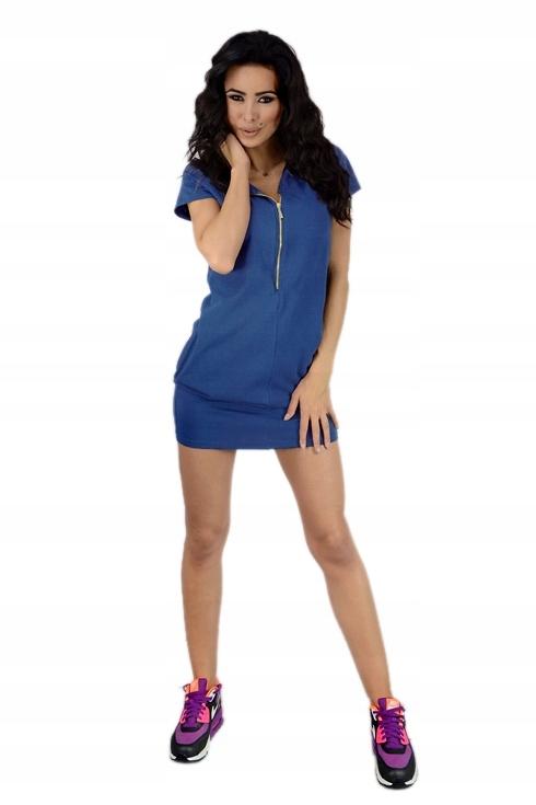 53a71796 Sukienka REGULOWANY DEKOLT suwak 855 S M niebieska - 7354742104 ...