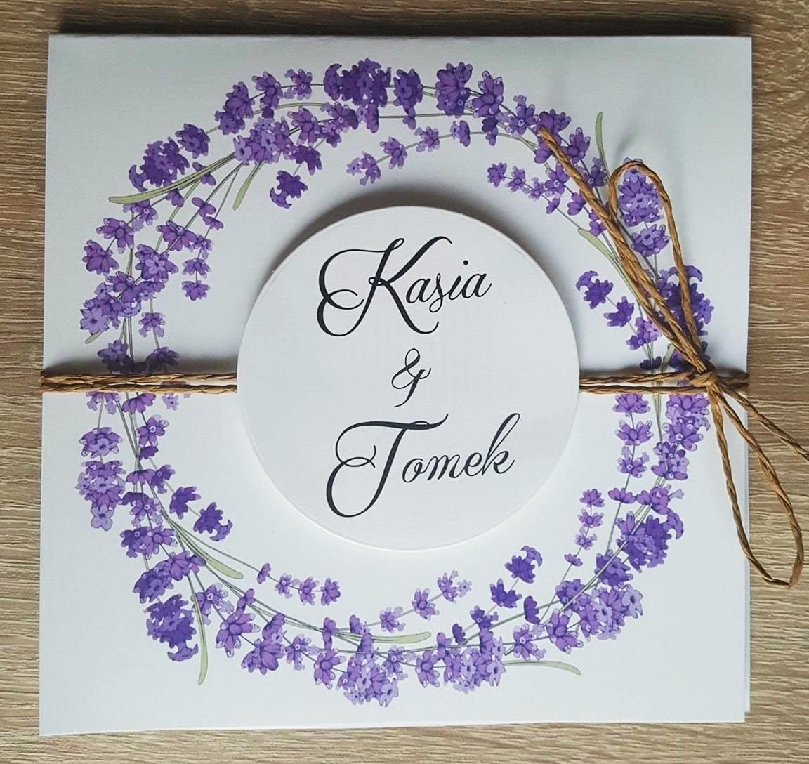 Zaproszenia ślubne Lawenda Kokarda Koperta 7003935423 Oficjalne