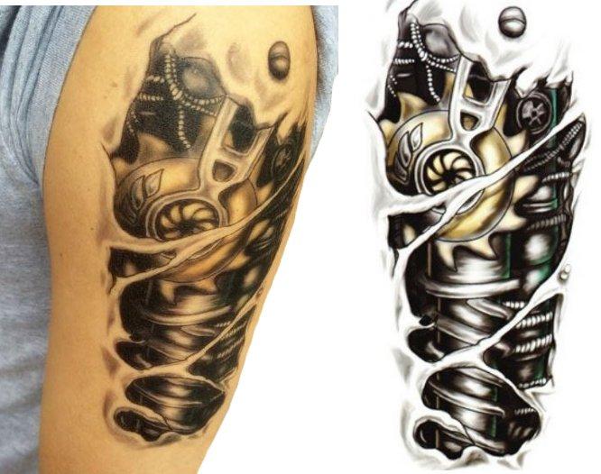 Tatuaż Robot Kalkomania Ręka Robota 3d Tattoo Tm17