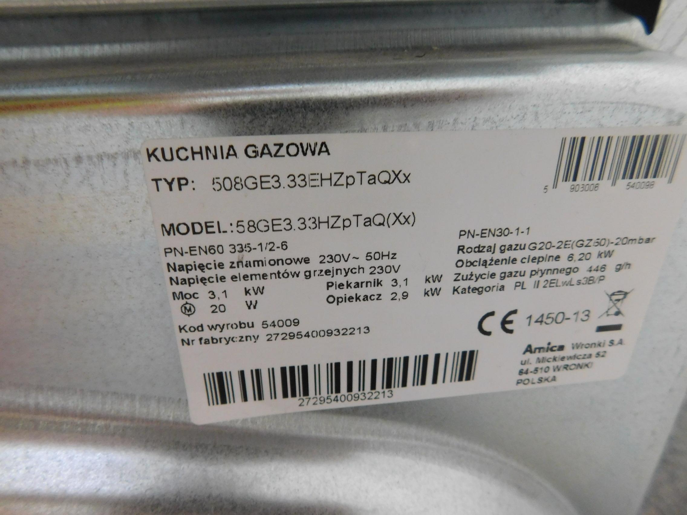 Kuchnia Gazowo Elektryczna Amica 58ge333hzptaqxx