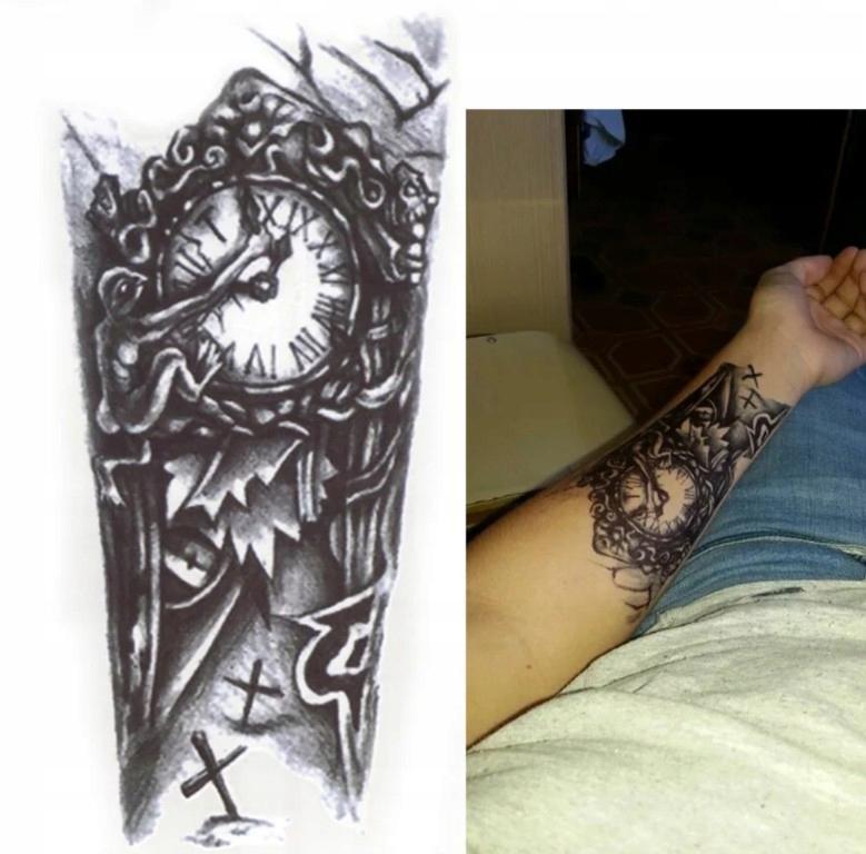 Tatuaż Tattoo Zegar Czas Zegarmistrz Henna Zmywaln 7436779509