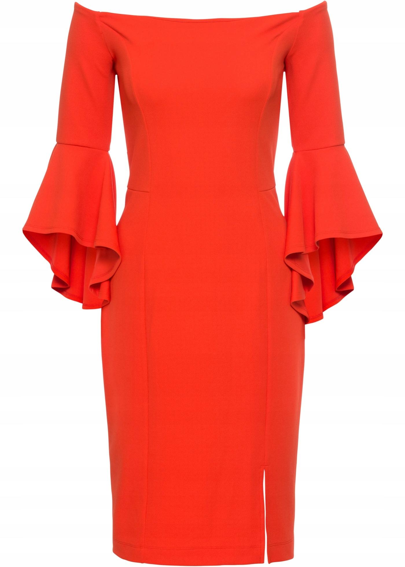 4a6aaae8ed J416 BPC Sukienka z rozkloszowanymi rękawami 44 46 - 7626095779 ...