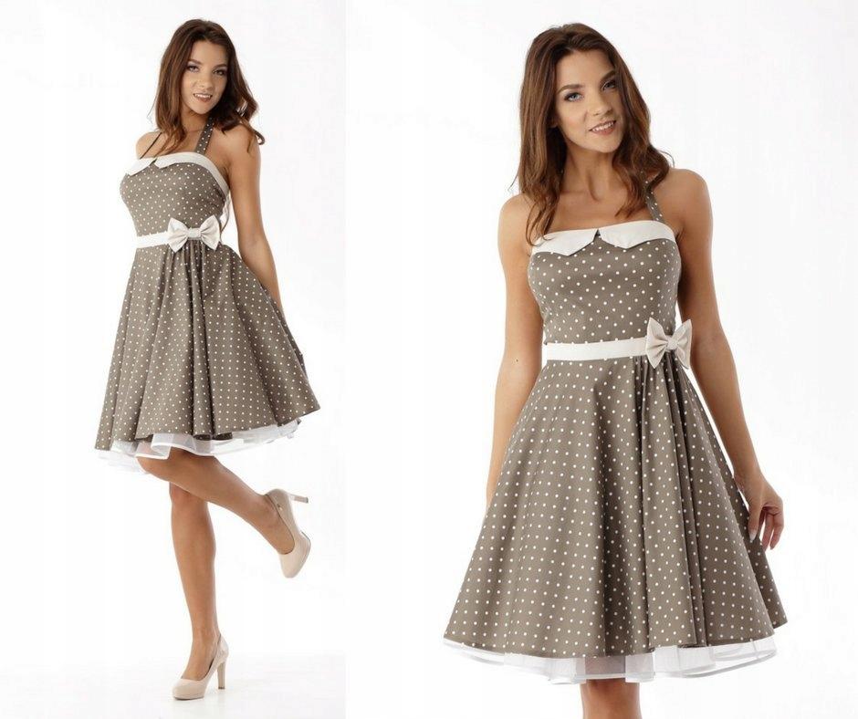 Rozkloszowana Sukienka Retro Pin Up Wesele Kokarda 6949482061