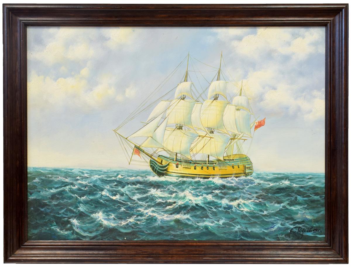 Najnowsze Olejny obraz statek na morzu 82x62 cm - 7130035737 - oficjalne DS07
