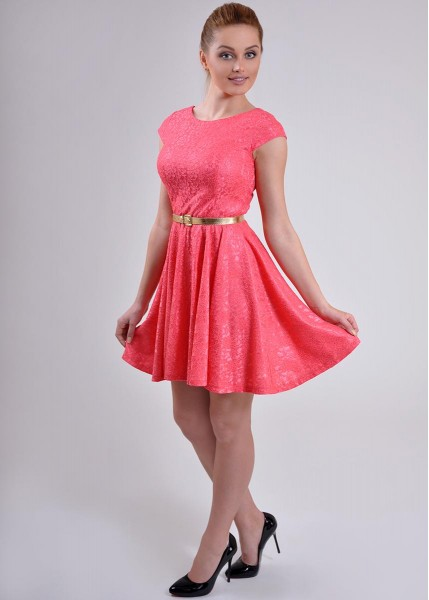 a4f575071e jokastyl KORAL rozkloszowana sukienka KORONKA M 38 - 7299706087 ...