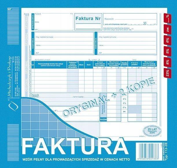 Druk 112 2e Faktura Vat 23 A4 12 Netto Płatniko 7316310157