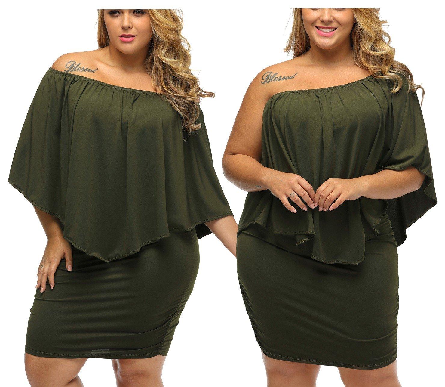 ea089c0541 Khaki army sukienka wyszczuplająca Plus Size 2XL - 6678056745 ...