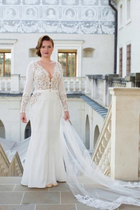 Bardzo dobra suknia ślubna retro, prosta, jak Impresja, r. 40, - 7603332547 RF97