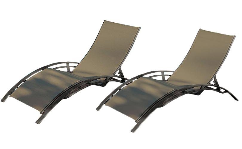 2 Leżaki Ogrodowe Tarasowe Dcb Garden Aluminiowe