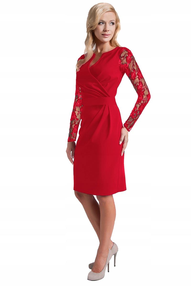 a9b4b799cd Wizytowa Elegancka Sukienka Koronkowe Rękawy R 44 - 7343907901 ...