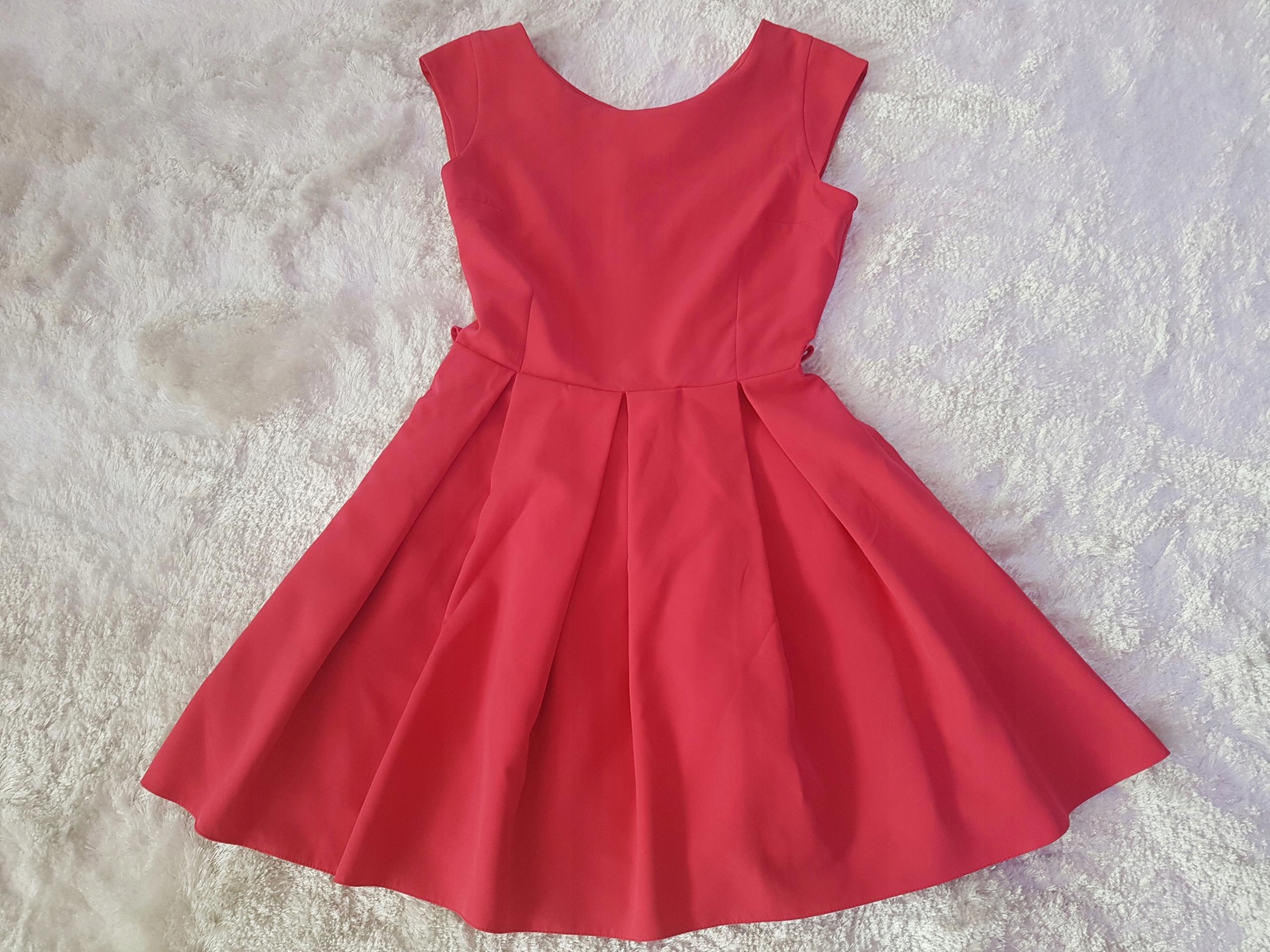 49c4f4d9f5 Sukienka wesele chrzciny malinowa różowa 38 M L 40 - 7498219927 ...