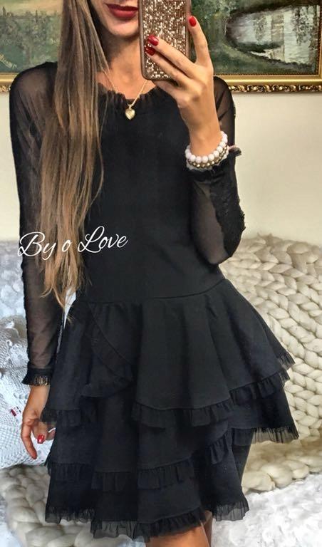 9daf29cd40 By o la la sukienka falbanki czarny koronka s dres - 7668545629 ...