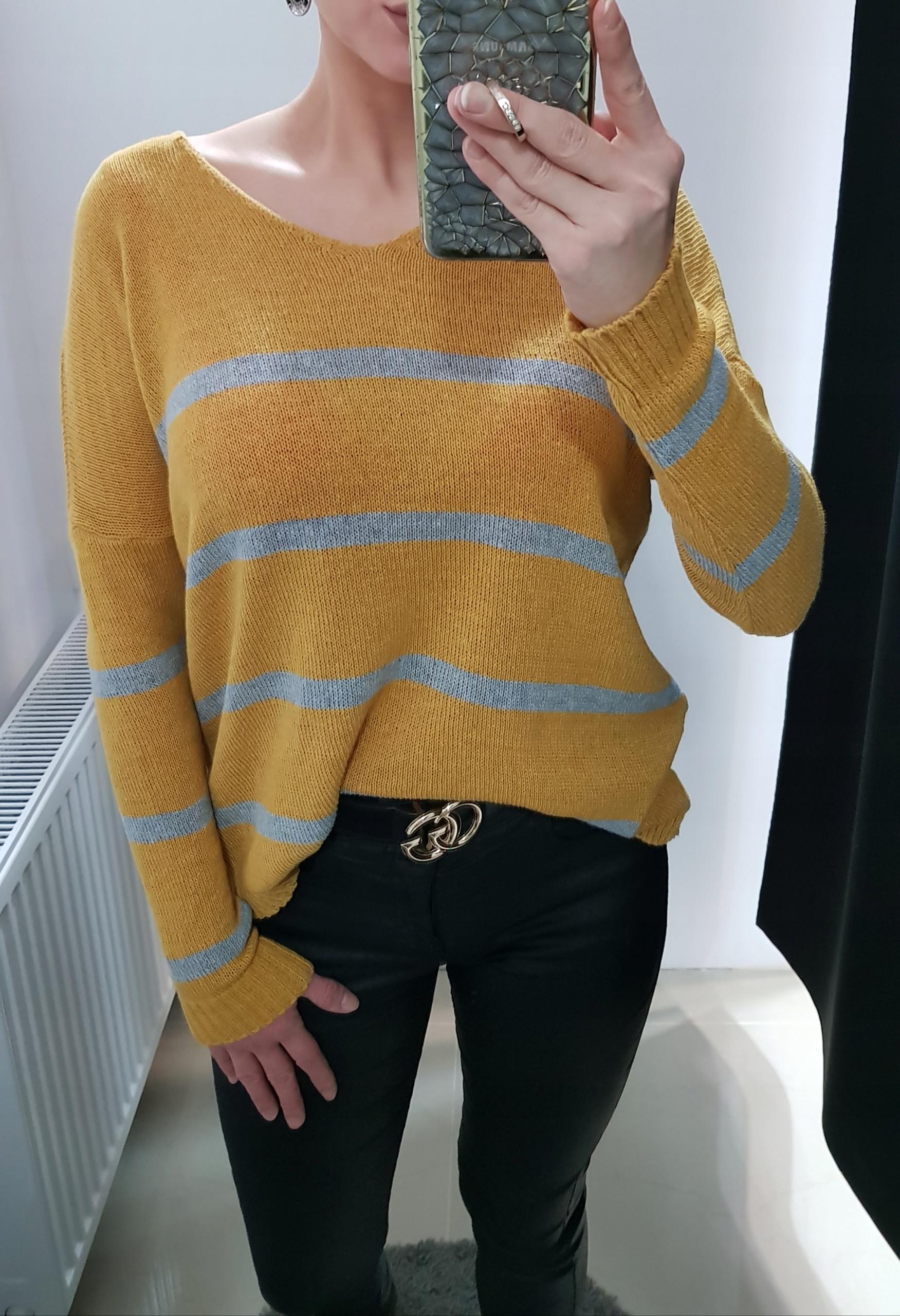 84238038d434 Sweterek sweter miodowy bluzka paski musztardowy - 7706044439 ...