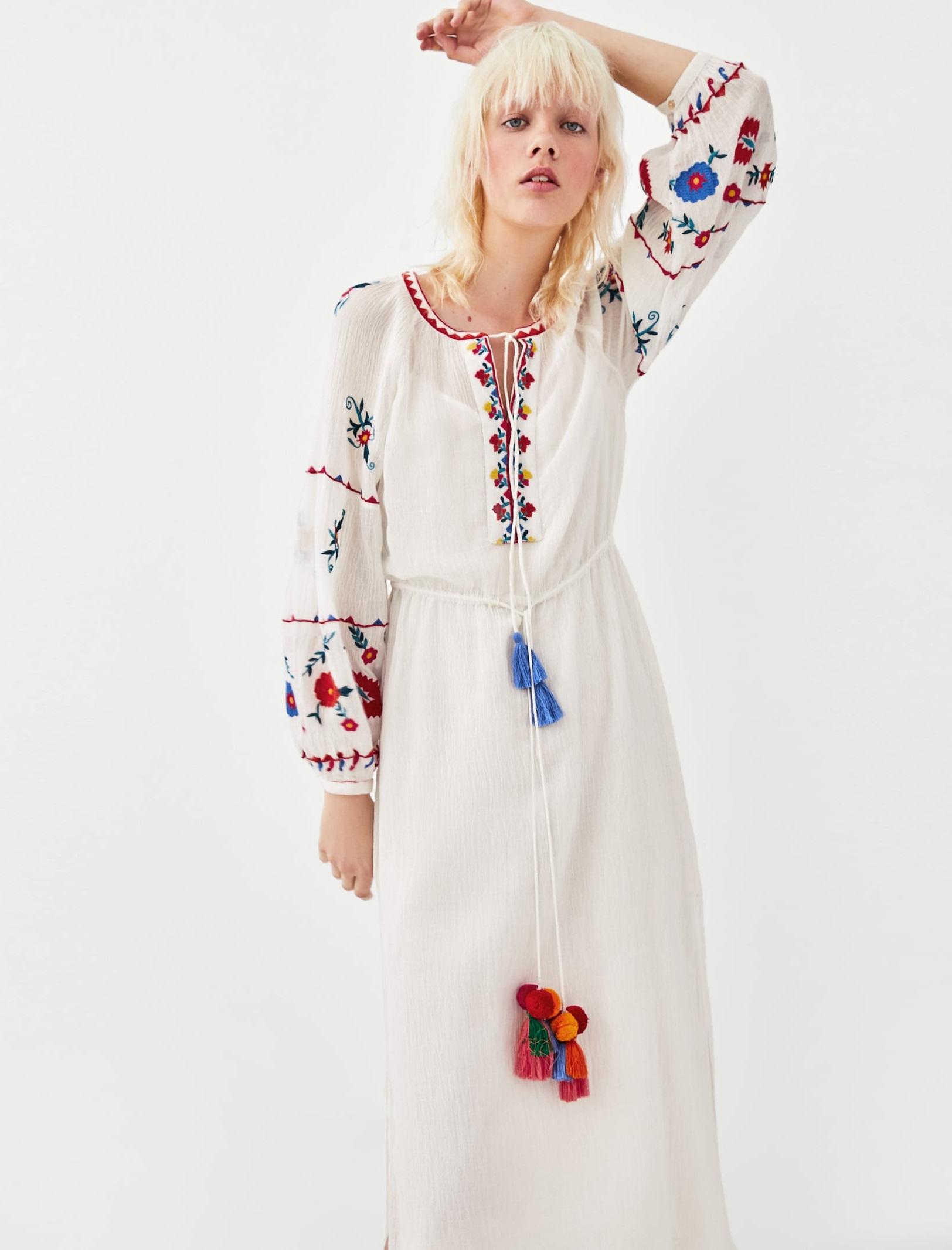 073990ab21 Luksusowa Sukienka z Haftem Pompony - ZARA Lux L - 7422520052 ...
