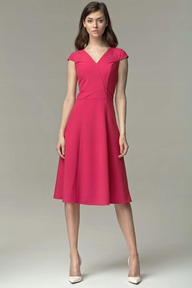 39d5089fdc Sukienka MIDI - fuksja - S60 M (38) różowy - 7653496076 - oficjalne ...