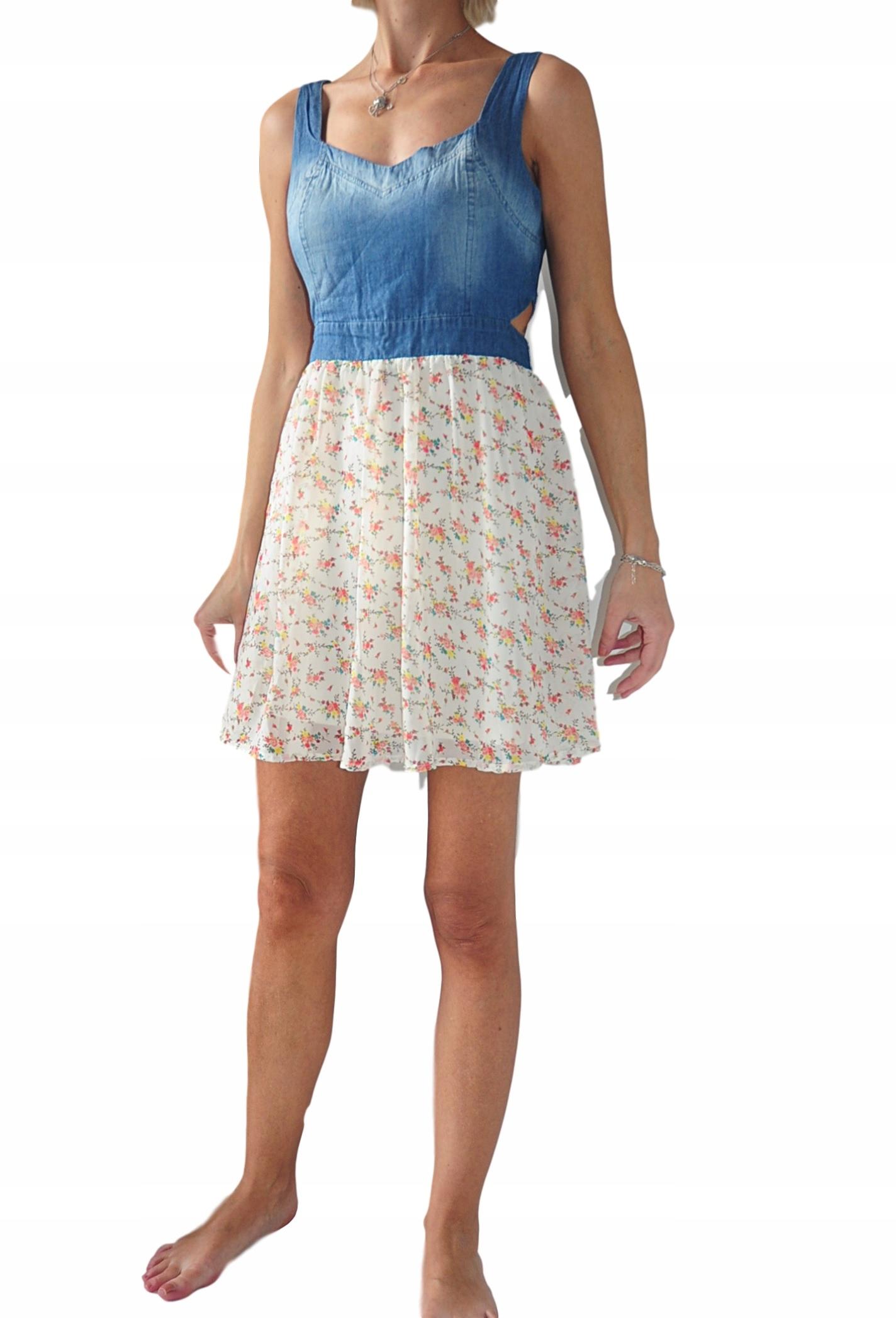 ce682ca348 Atmosphere sukienka jeans + kremowa kwiatki 36 38 - 7727632651 ...