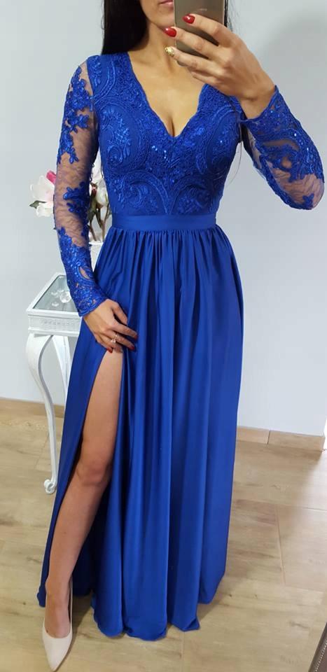 a81a41e65a Sukienka chabrowa Luna Emo długa koronkowa 42 44 - 7633038801 ...