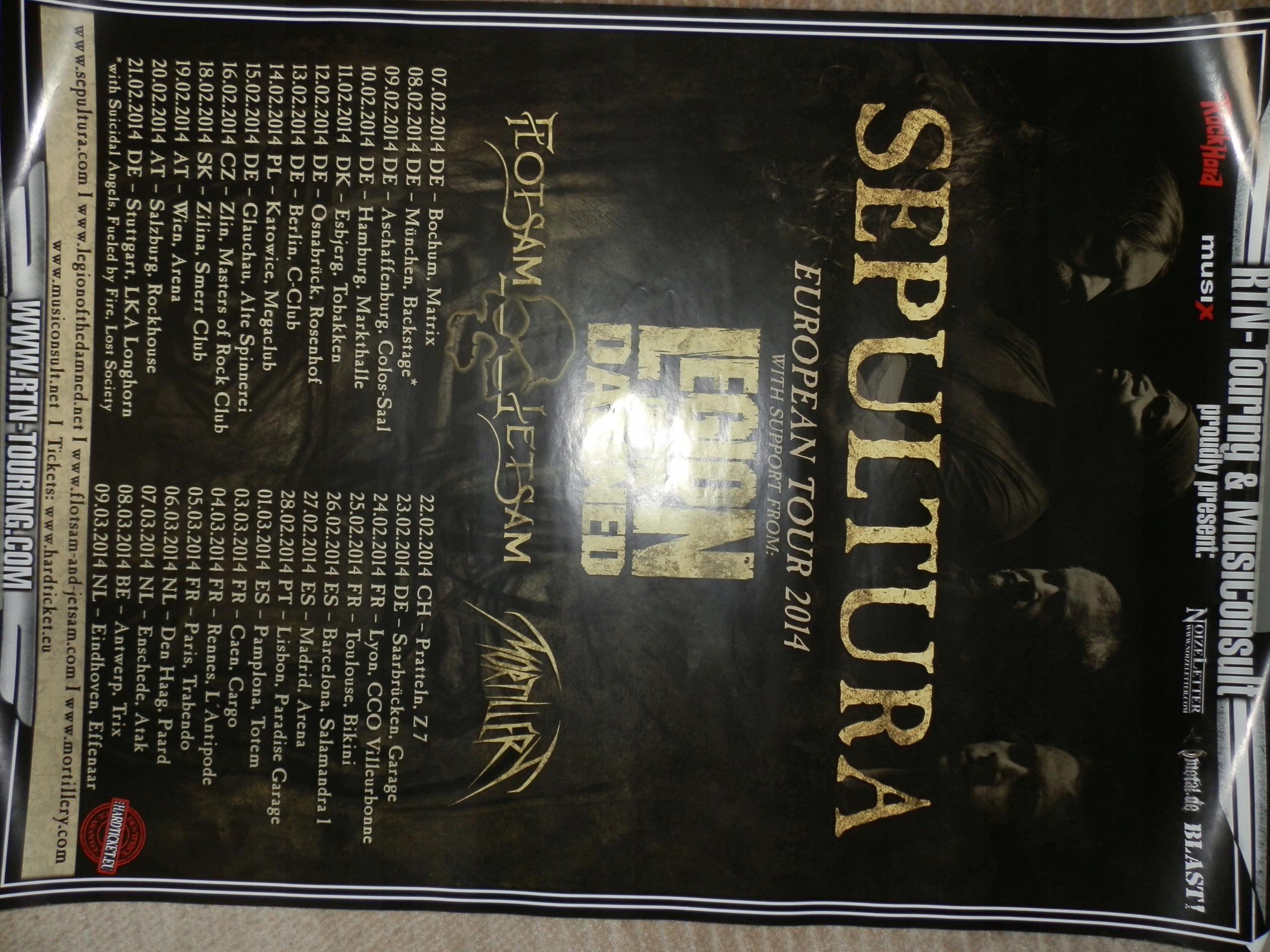 Sepultura Legion Of The Damned Plakat Z Koncert