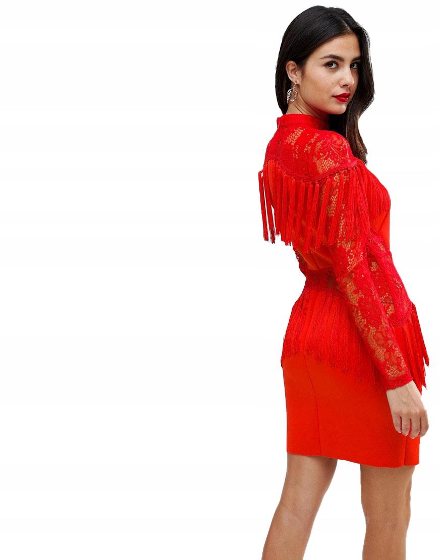 100ed633a6 Sukienka FRĘDZLE KORONKA CZERWONA XL 42 - 7385423622 - oficjalne ...