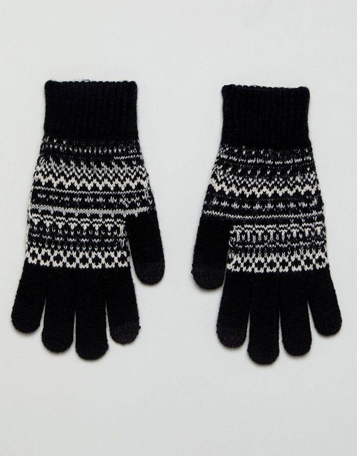 ASO Rękawiczki czarne dzianinowe wzór biały (NOS)