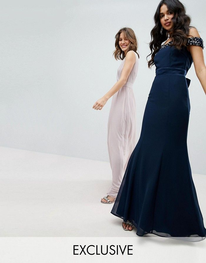 c6d93d63bd MAYA Granatowa suknia kokarda (40) WESELE - 7359364695 - oficjalne ...