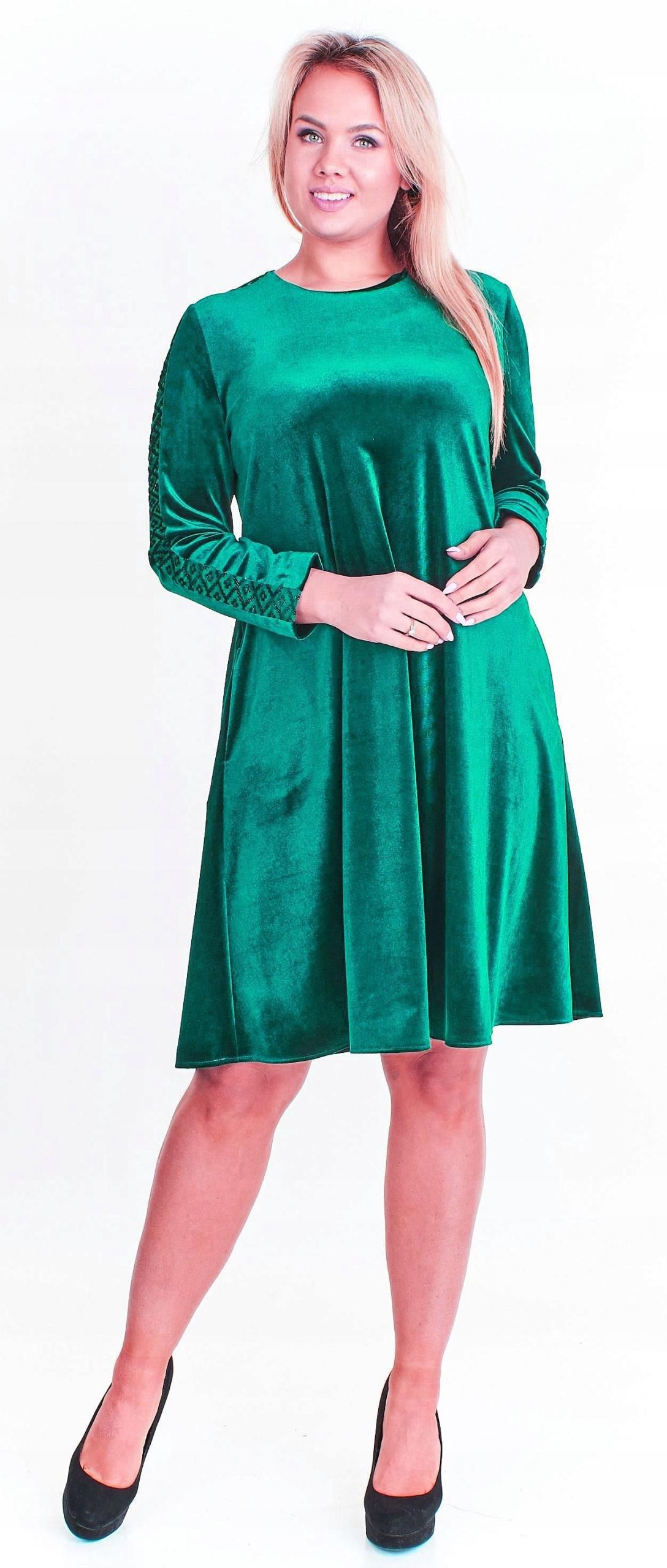 087967ba48 Aksamitna zielona sukienka wesele świeta r. 42 - 7615720739 ...