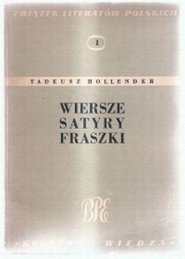 Tadeusz Hollender Wiersze Satyry Fraszki 7269009306