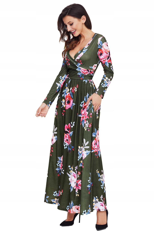 11e1ba8d3e ... Sukienka letnia 61964 w kwiaty DUZE ROZMIARY 54. 54 Sukienka zielona w  kwiaty maxi