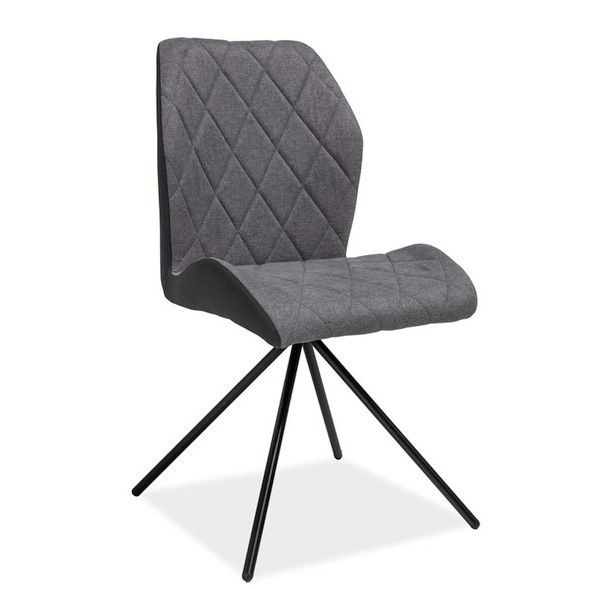 Krzesło tapicerowane szare nowoczesne metal