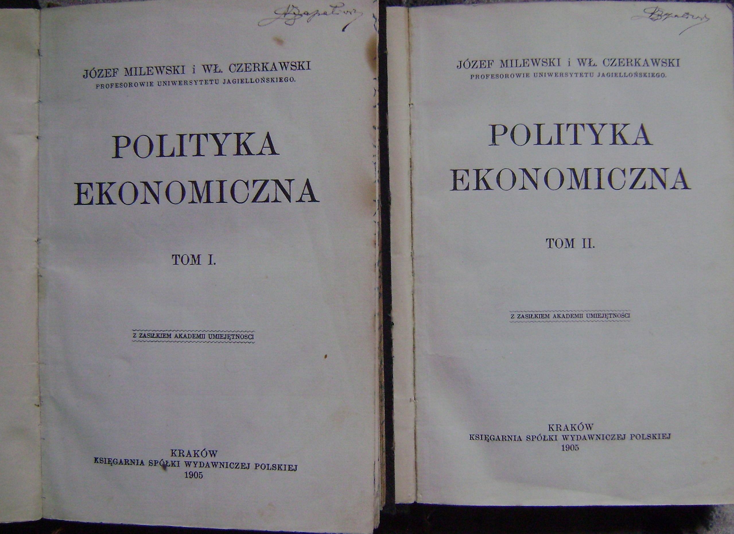 CZERKAWSKI MILEWSKI -POLITYKA EKONOMICZNA -tom 1-2