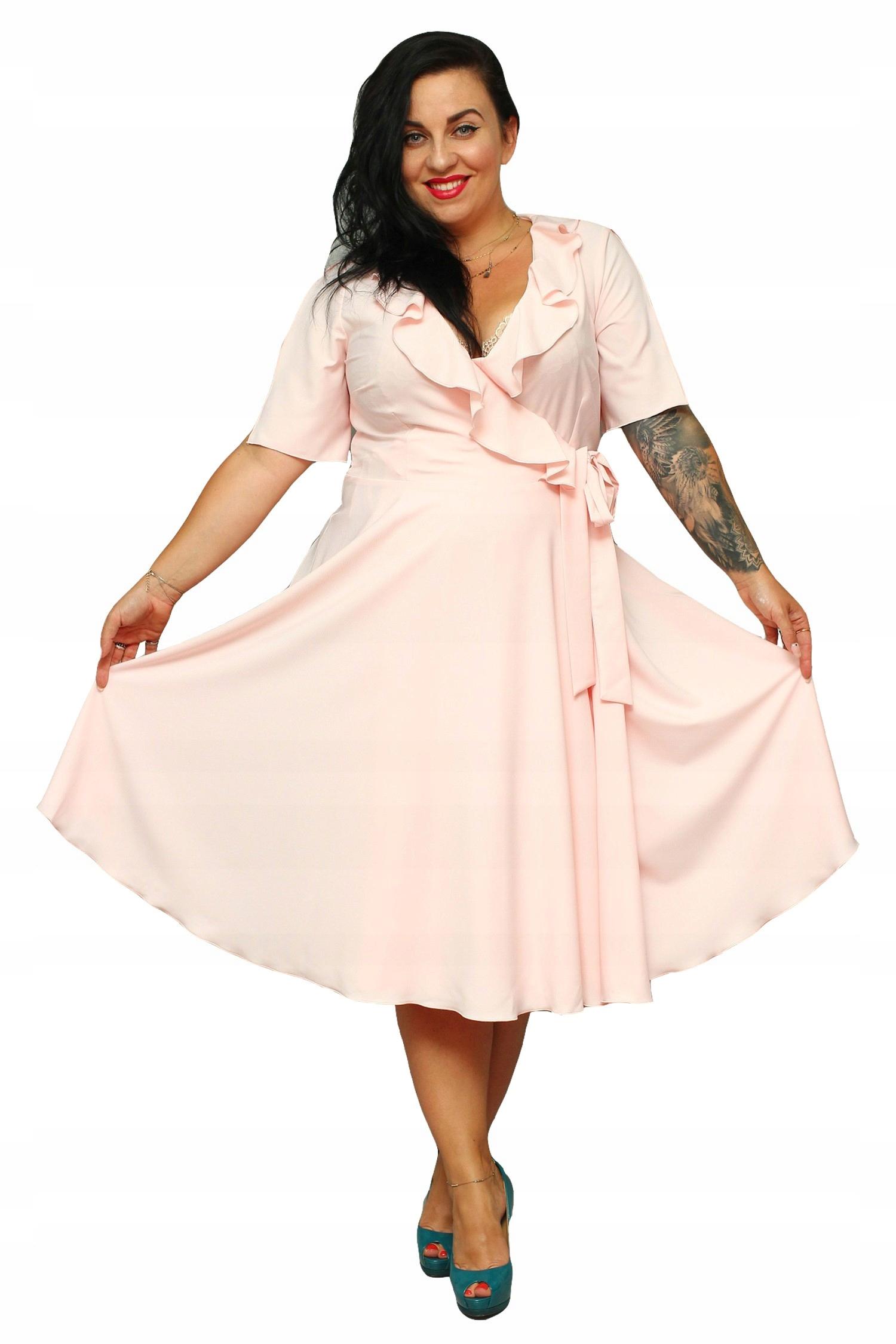 029660c5647e79 Sukienka MIRELLA kopertowa pudrowy róż 46 - 7426524992 - oficjalne ...
