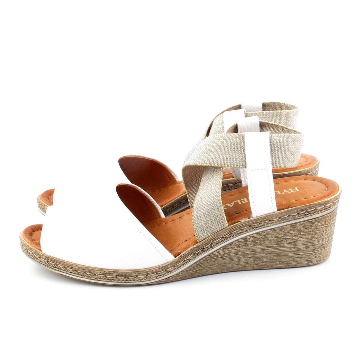 020ae385 RYŁKO 4DH65 białe sandały na koturnie rozm 35 - 7016671525 ...