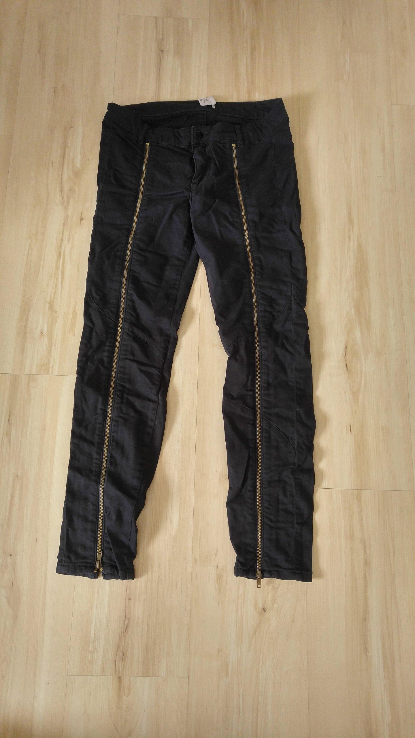 H&M Spodnie jeans zamki motocyklowe 38