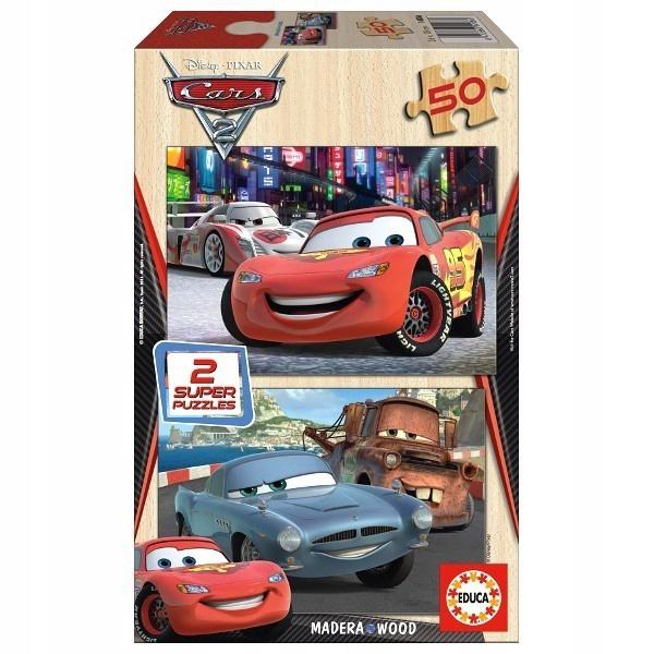 EDUCA drewniane Puzzle 2x50 EL. Cars AUTA