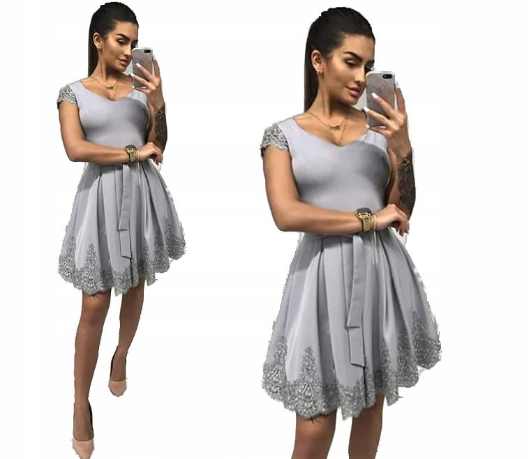 336640a199 Sukienka midi rozkloszowana z koronka na wesele 48 - 7531855949 ...
