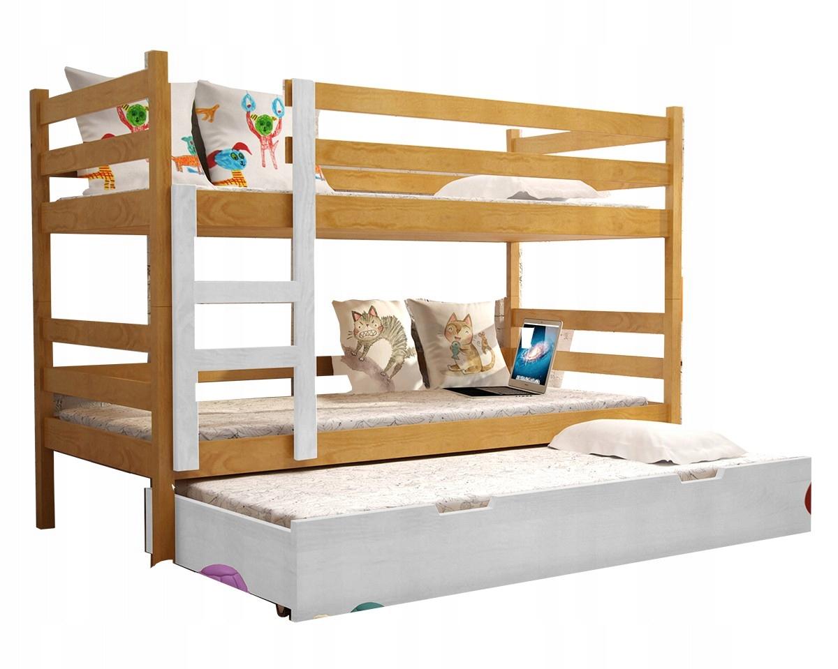 łóżko Piętrowe Nemo 200x90 3 Osobowe Materace