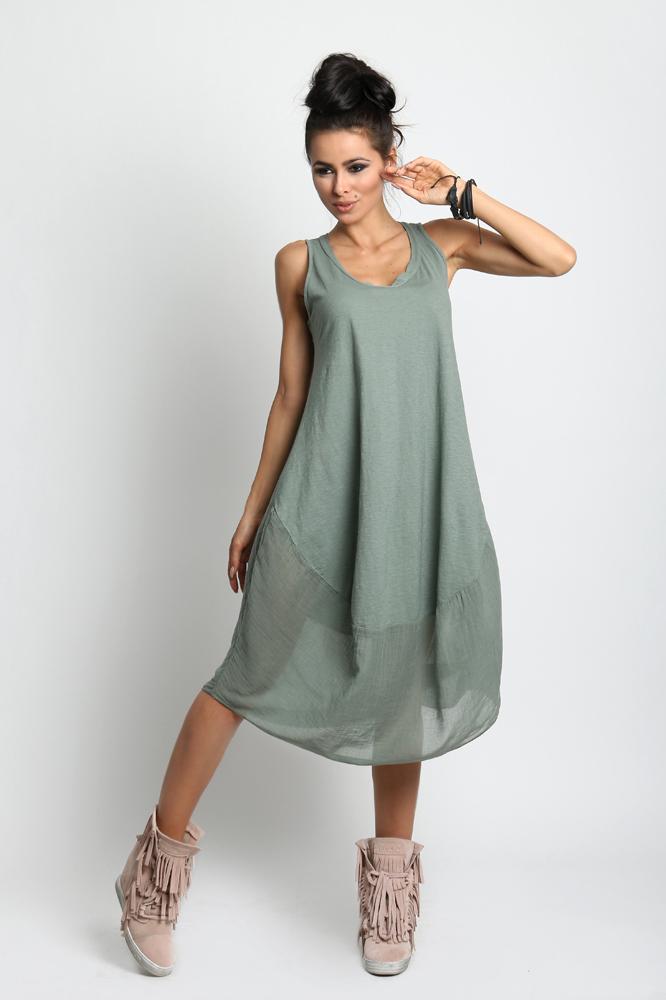 54c5645c75 Luźna sukienka BOHO bawełna midi 607 Z.NIEBIESKI - 7231206203 ...