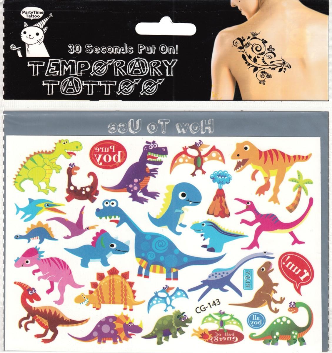 Dinozaury Zmywalne Kolorowe Tatuaże Naklejki 6984997625