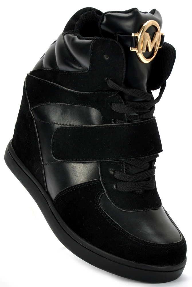 f5a3409ff6040 Trampki na koturnie Czarne sneakersy botki 1342 37 - 7169673182 ...