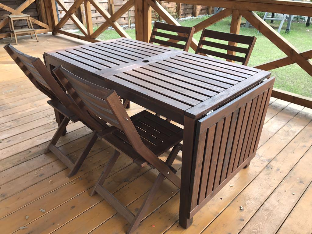 Meble Ogrodowe Stół Krzesła Applaro Ikea 7295293565