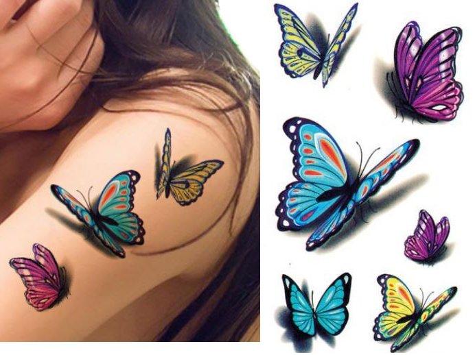 Tattoo Tatuaż 3d Kolorowe Motyle Naklejka Motyl M2 7136330197