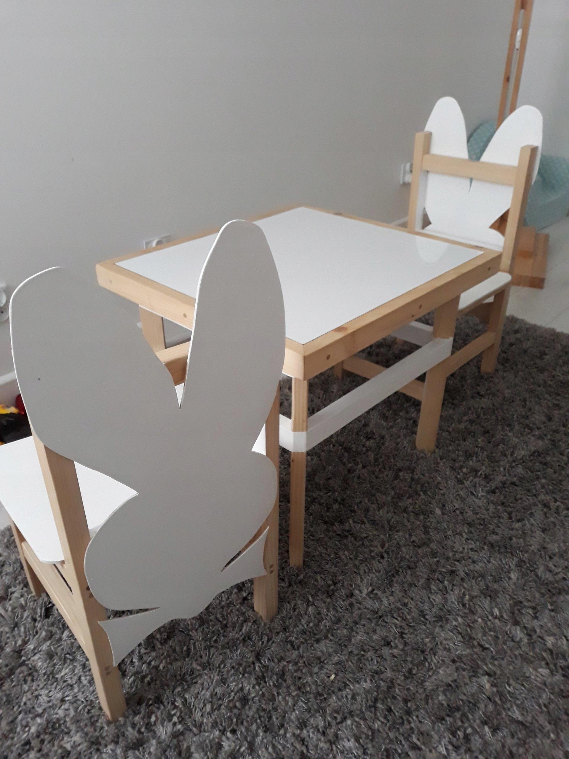 Drewniany Zestaw Dzieci Stolik 2 Krzesła Królik 7499390869