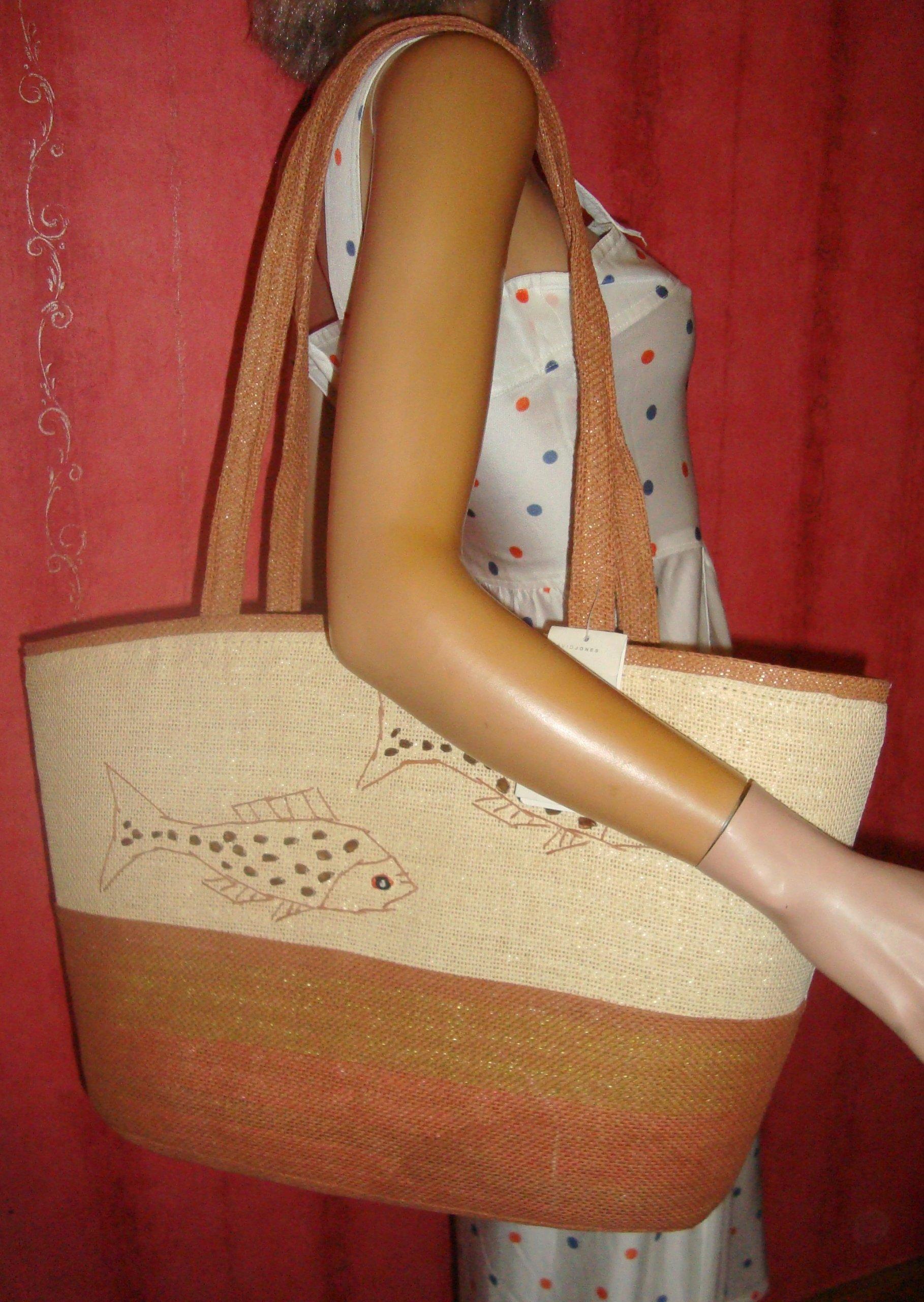 0afbb888f6f5d Piękna, plażowa torba z rafii. Biało beżowa. - 7473190489 ...