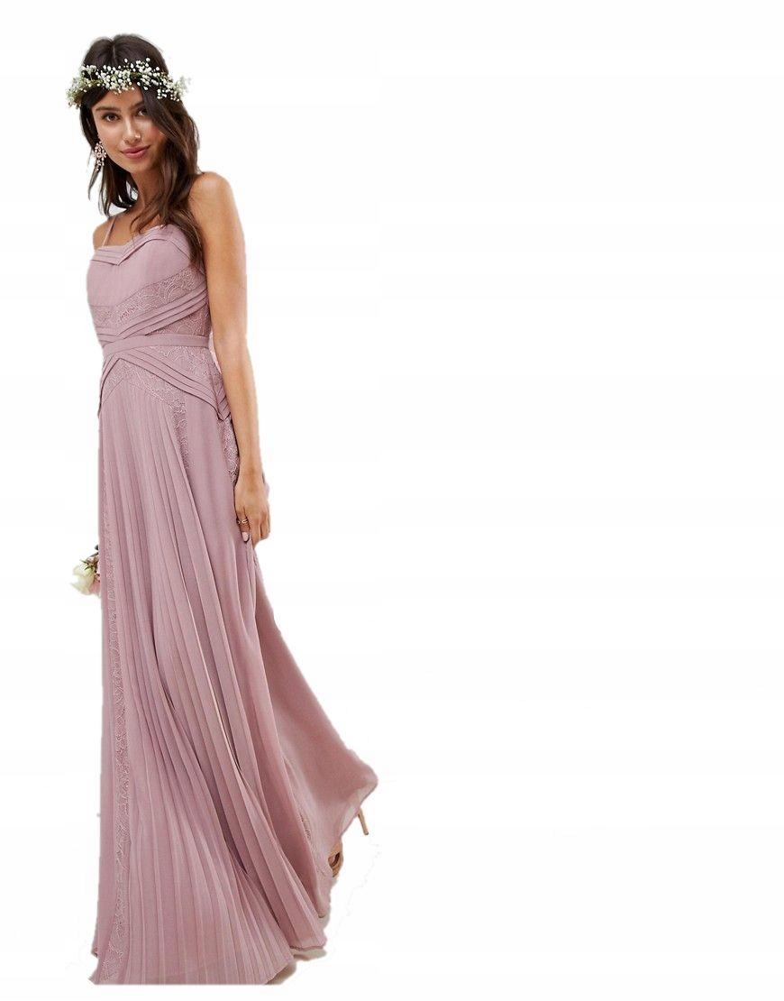 Sukienka Maxi Plisowana Wesele Koronka Xl 42 7411825417